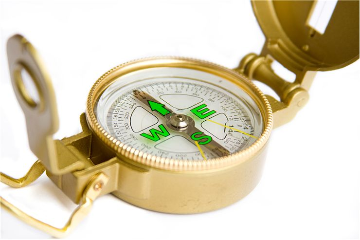 Picture Of Gold Magnetic Compass