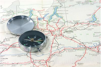 Picture Of Map And Magnetic Comapss