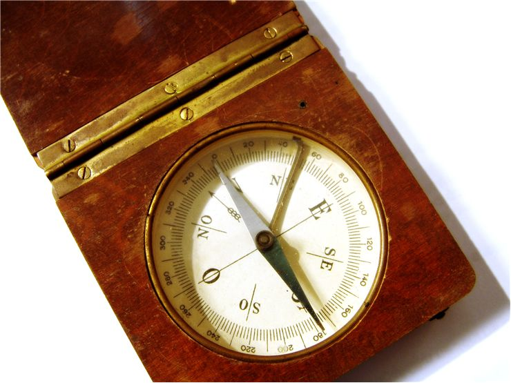 Picture Of Wooden Old Magnetic Compass